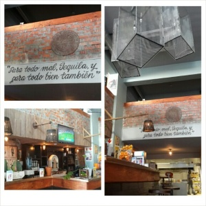"""The entrance and downstairs area. The rough translation of the sign is """" for everything bad, tequila; for everything good, the same"""". Original saying actually refers to mezcal - but hey, potato-tomato :)"""