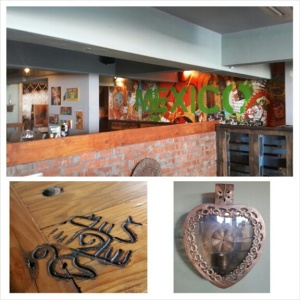 """Vibrant wall murals, funky table """"branding"""" and cool wall decor are all part of the latino ambiance"""