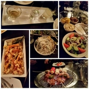 Clockwise from top:Korean wine taster, sides that come with Galbi sets; the starters on the grill, and 2 other seriously delicious sides from al la carte menu