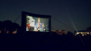 The Galileo-style big screen, on a beautiful Cape Town summer night