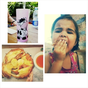 """Clockwise from top left: How cute is that milkshake?; My beast couldnt help herself after her first bite of my jaffel. She was like, """"This...is...soooo good, mama!"""" I know, my child. Now if only I could have some myself. sigh ; The Jaffels with bacon - note the tiny hand that couldnt wait for me to finish taking the pic."""