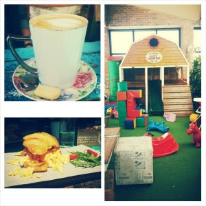 From top left, clockwise: Cute cuppas;  The play area- GET IN THERE!! ; Divine croissant