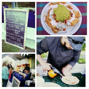 Foodie love: Clockwise from left, a pretty decent menu offered by The Mexican Nacho stall; My more than ample starters nacho portion;Making nacho magic in the great outdoors; A fave movie staple:Popcorn!
