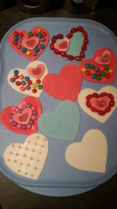 To save time, I cut and decorated my fondant hearts while the cookies were baking.
