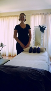 In our bedroom: Berneen making her space in our space.