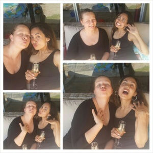 So relaxed: We were in high spirits.Can you tell?! We hadnt even had a sip of wine, yet. Promise.