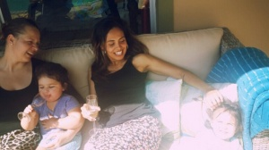Sharing laughs and enjoying the sun with our girls: Little EJ and I enjoying a good vintage....(and for non-humourous readers, thats good ol' H2O in little EJ's glass)