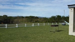 Beautiful open space: Dam, green grass, portabl braai and jungle gym - what more would you need?