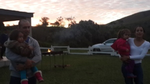 Sun setting, while the braai is getting ready