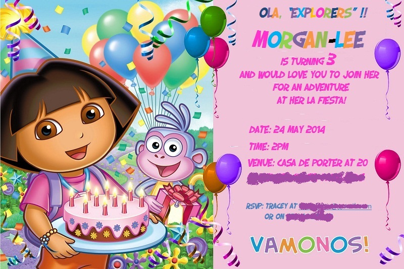 morgan-lee's dora the explorer birthday party ideas & free, Birthday invitations