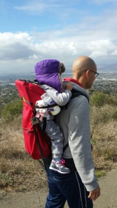 Blankie and Milkies easily in reach for this mountaineering baby