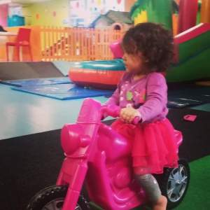Biker chick Parky, getting her ride on her at Funky Frog...in her tutu, of course