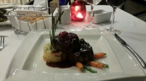 Beef fillet medalions with sauteed shiitake mushrooms & potato fondant & creamed horseradish