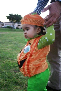 Morgan-Lee at 1yrs old,taking in the last of the trick or treating.