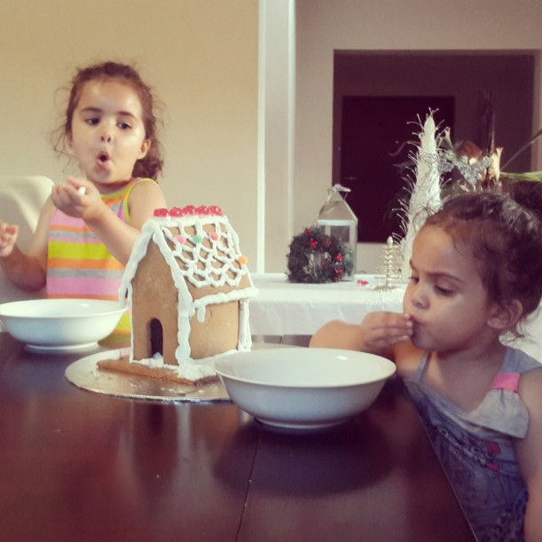 Only one rule of Gingerbread house club: DONT eat the candy!! These two obviously didn't get the memo.