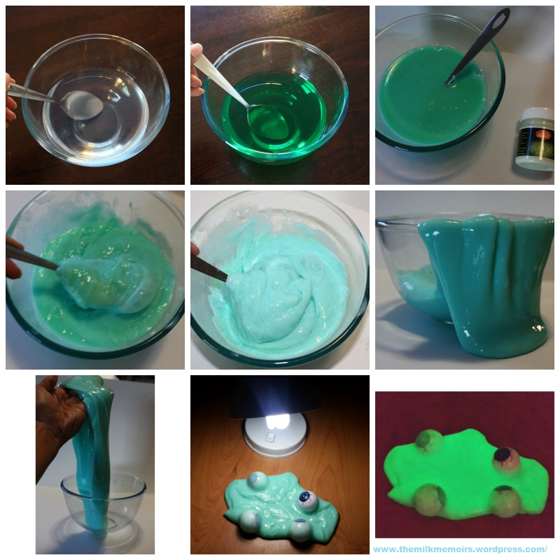 Instructions in a collage: Glue & water mixture. Add colour. Add paint. Add Borax solution.Mix well. Ta-daaa, you have slime. Very cool slime. Charge it up. Enjoy!