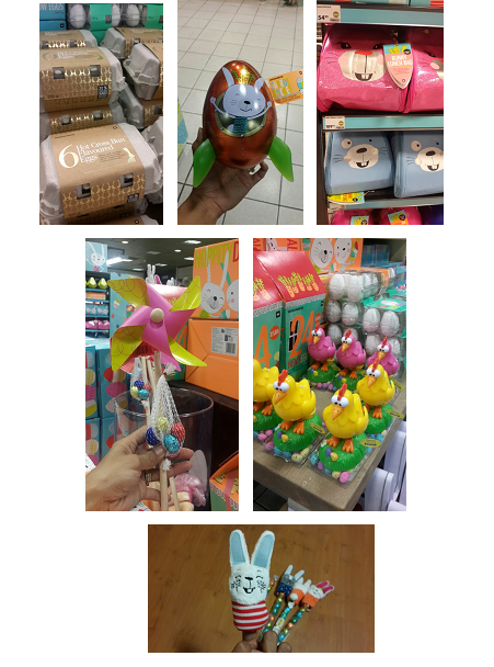 Hotcross bun eggs;Rocket Shaped Egg Tin;Bunny Bags;Chocolate laying Chicken;Finger puppet bunnies iwth chocolate eggs; Pin wheels with eggs