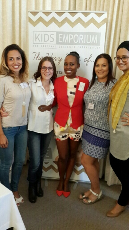Right to left: Radhia Sattar (Treat Me sweetlie), Lindsay Leigh Thomas (Love Made Me), Elana Afrika-Bredenkamp, Charlotte Nortje (The Stiletto Mum) and moi.