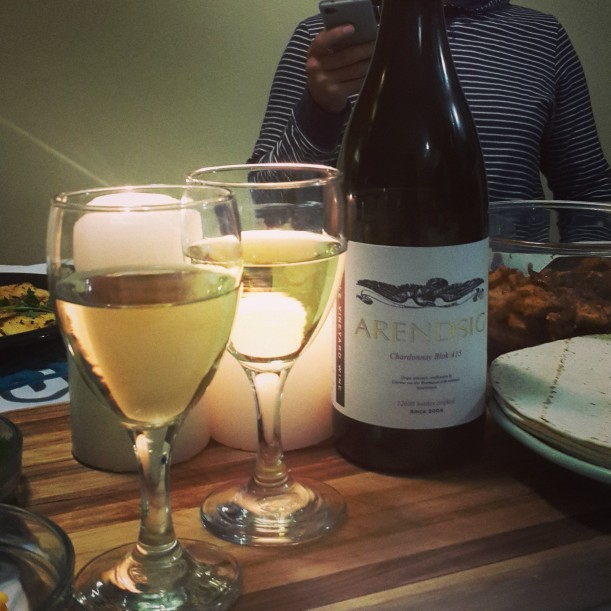 The Arendsig chardonnay Blok was the perfect match for hubby's mexican dinner spread I cooked up - complimented all the spicy flavours!